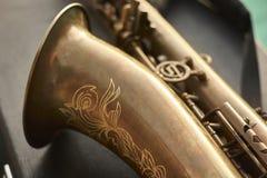 Detalhe de um saxofone Imagens de Stock