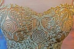 Detalhe de um vestido de casamento foto de stock