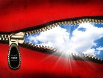 Detalhe de um zipper aberto fotos de stock royalty free