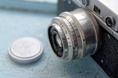 Detalhe de uma câmera velha Imagens de Stock Royalty Free