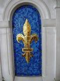 Detalhe de uma flor dourada do lírio cerâmica Fotografia de Stock Royalty Free