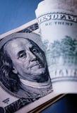 Detalhe de uma nota de dólar dos E.U. 100 Fotografia de Stock Royalty Free