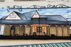 Detalhe de uma pintura mural em uma parede de tijolo 2 Imagem de Stock Royalty Free