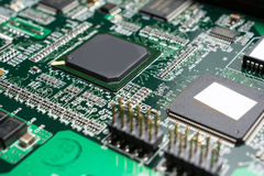 Detalhe de uma placa de circuito impresso eletrônica Imagem de Stock