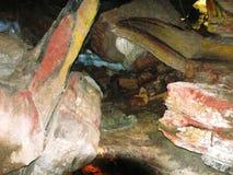 Detalhe de uma rocha cor-de-rosa no abismo de Bramabiau Foto de Stock