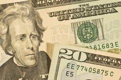 Detalhe de vinte notas de dólar Imagens de Stock Royalty Free