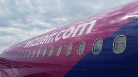 Detalhe de WizzAir Airplain Imagens de Stock Royalty Free