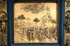 Detalhe do batistério do domo, Florença das portas Imagens de Stock