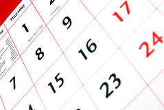 Detalhe do calendário Foto de Stock