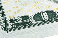 Detalhe do canto de uma nota de dólar 20 Fotografia de Stock Royalty Free