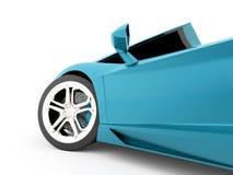 Detalhe do carro de corridas rendido no fundo branco ilustração stock