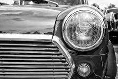 Detalhe do carro Ingleses Leyland Mini (preto e branco) Imagem de Stock Royalty Free