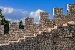 Detalhe do castelo de Sesimbra foto de stock