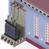 Detalhe do central elétrica Central elétrica azul Construção isométrica do transformador bonde Fotografia de Stock