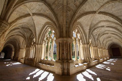 Detalhe do claustro de Santa Maria de Poblet Monastery fotografia de stock