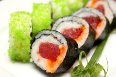 Detalhe do close up de sushi do nigiri Fotos de Stock