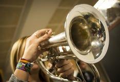 Detalhe do concerto da trombeta imagem de stock