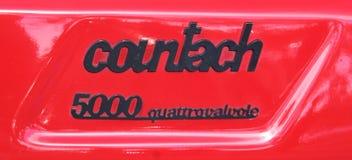 Detalhe do emblema de Lamborgini Countach imagens de stock royalty free