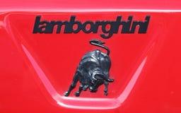 Detalhe do emblema de Lamborgini Countach imagem de stock