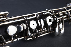 Detalhe do instrumento musical de Oboe imagens de stock