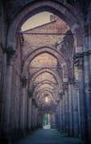 Detalhe do interior da abadia de San Galgano, Toscânia Imagens de Stock