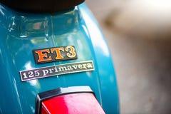 Detalhe do logotipo ET3 125 primavera do vespa Fotografia de Stock Royalty Free