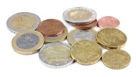 Detalhe do macro do dinheiro da moeda de um centavo da vista superior euro- Fotos de Stock Royalty Free