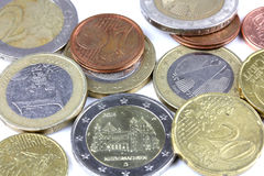 Detalhe do macro do dinheiro da moeda de um centavo da vista superior euro- Imagem de Stock