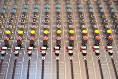 Detalhe do misturador do estúdio da música Imagem de Stock