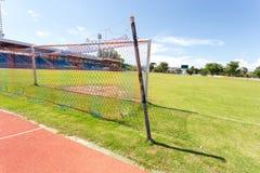 Detalhe do objetivo do futebol com um futebol Foto de Stock Royalty Free