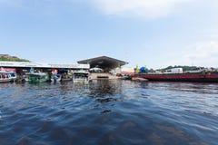 Detalhe do porto de Manaus Afluência brasileira dos rios foto de stock royalty free