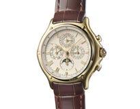 Detalhe do relógio de pulso isolado no branco Foto de Stock