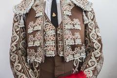 Detalhe do traje de luces ou de vestido do toureiro Imagem de Stock