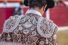 Detalhe do traje de luces ou de vestido do toureiro Fotos de Stock Royalty Free