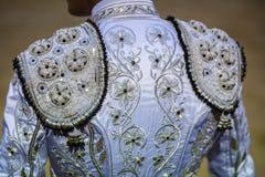 Detalhe do traje de luces ou de vestido do toureiro Foto de Stock Royalty Free