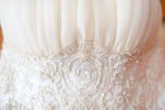 Detalhe do vestido de casamento Fotografia de Stock Royalty Free