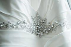 Detalhe do vestido de casamento Imagem de Stock Royalty Free