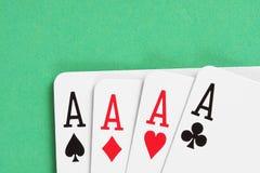 Detalhe dos cartões de jogo dos ás fotos de stock