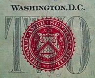 Detalhe dos E.U. $2.00 Bill 1 Fotografia de Stock Royalty Free