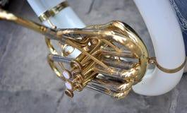 Detalhe dos pistões da trompa francesa Imagem de Stock