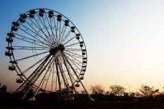 Detalhe e silhueta de Ferris Wheel Imagem de Stock Royalty Free