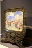 Detalhe excitante de arte japonesa quadro no ouro, Cleveland Art Museum, Ohio, 2016 Foto de Stock Royalty Free