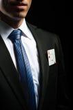 Detalhe a foto, cartão do ás em seu bolso do terno Fotografia de Stock Royalty Free