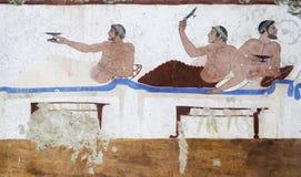 Detalhe fresco do grego clássico de uma sepultura no paestum Italia Symposiu Imagem de Stock Royalty Free
