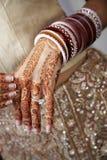 Detalhe Hindu da mão da cerimónia de casamento Foto de Stock Royalty Free