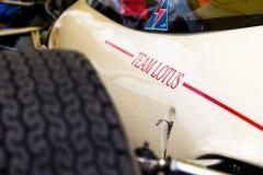 Detalhe histórico do carro de fórmula de Lotus imagens de stock