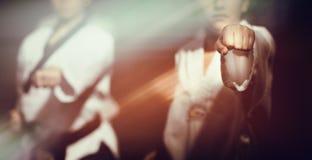 Detalhe humano do movimento do gesto da mão do punho de Taekwondo fotografia de stock royalty free