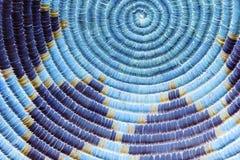 Detalhe indiano da cesta do nativo americano no azul Imagem de Stock Royalty Free