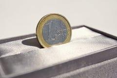 Detalhe macro de uma moeda do Euro da prata e do ouro colocada na caixa de presente luxuoso cinzenta da joia Imagens de Stock