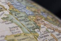 Detalhe macro do mapa do globo de França Fotos de Stock
